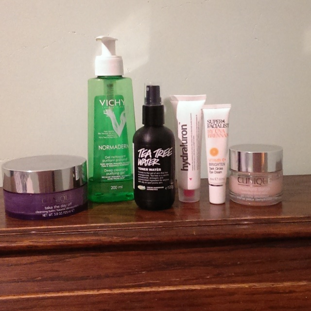L-R Make-up Remover, Cleanser, Toner, Serum, Eye Cream, Moisturiser